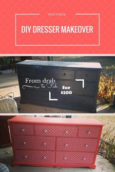 HOW TO: DIY Mod Podge Dresser makeover on a budget. Check out this step by step guide on how to turn an old dresser into a super cute, Instagrammable new piece in your bedroom. #DIY #Ideas #ModPodge #Budget #Tips