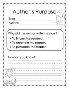 Author's Purpose: inform, persuade, or entertain - Teacher JW - TeachersPayTeachers.com  1.RL.6