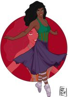 Disney University - Esmeralda has been dancing since she was little. She loves ballet and exotic dances. She love mixing dance styles and for this, usually train with Aladdin (B-boy)