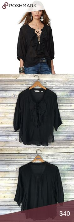 """Denim & Supply RL Black Lace Up Ruffle Blouse Super cute black ruffled peasant top with adjustable lace up detailing. Gauzy cotton material. 3/4 sleeves, loose fit. Gently used condition!  Measurements laying flat (without stretching)- Armpit to armpit: 23.5"""" Length, shoulder to hem: 22.5"""" front, 26"""" back Denim & Supply Ralph Lauren Tops"""