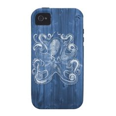 Cool Antique Effect White Octopus Vibe iPhone 4 Case