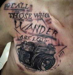 Not all those who wander are lost #blackandgray #tattoo #camera #canaratattoo #sombras #lettering #letras #fotografia # photograpy #tattoerboy #tattoovenezuela #venezuela #colombia #bogota #instatattoo #instaarte #instaphoto #YatiriStudio