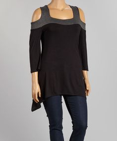 Black & Charcoal Off-Shoulder Tunic - $24.99