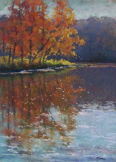 "Contemporary Drawing - ""Cumberland River Morning Reflections"" (Original Art from Marianna McDonald)"