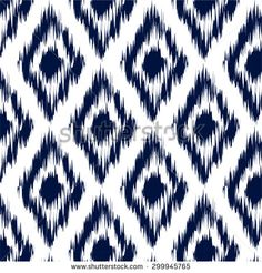 Ikat Ogee Background Pattern - stock vector