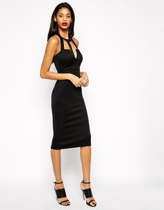 ASOS Sexy Halter Scuba Midi Pencil Dress