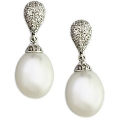 Effy Collection Freshwater Pearl Drop Earrings With Diamonds In 14 Kt. White Gold, 0.25 Ct. T.W. found on Polyvore