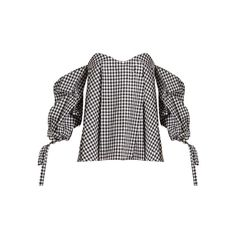 Caroline Constas Gabriella off-the-shoulder gingham top ($395) ❤ liked on Polyvore featuring tops, black white, sweetheart top, sweetheart neckline tops, black white top, gingham top and sweetheart neck top