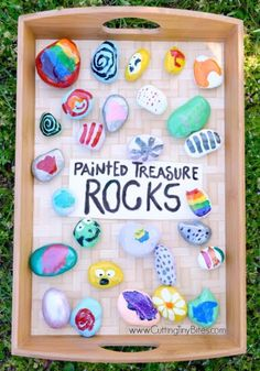 Painted Treasure Rocks classic kids craft Let your preschoolers kindergarteners or elementary children paint bright designs on rocks Fun spring or summer activity Give th. Kids Crafts, Crafts For Kids To Make, Summer Crafts, Projects For Kids, Craft Projects, Arts And Crafts, Paper Crafts, Easy Crafts, Creative Crafts