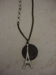 Eiffle Tower French Coin Necklace by jeweledfaith