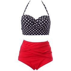 HDE Women Vintage 50s Pinup Girl Rockabilly High Waist Retro Bikini... ($3.99) ❤ liked on Polyvore featuring swimwear, bikinis, high waisted swimsuit, swimsuits bikinis, vintage high waisted bathing suits, vintage swimsuit and red polka dot bikini
