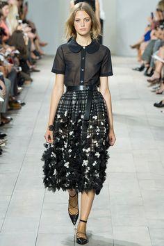 Michael Kors Spring 2015 RTW – Runway – Vogue black peter pan collars and floral