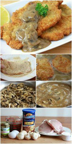 Crispy Fried Pork Chops {Jaeger Schnitzel}