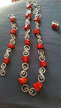 Collier, bracciale e anello wire alluminio e corallo rosso