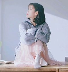 IU Kyungdong Pharmaceutical Gnal-N CF RolaRola sailor knit grey - won Rita Monica xoxo line earrings - won Iu Short Hair, Iu Hair, Short Hair Styles, Iu Fashion, Korean Fashion, Korean Girl, Asian Girl, Korean Artist, Korean Celebrities