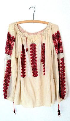 Vtg Embroidered Romanian Folk Cream Gauze Peasant Blouse Tassels A.
