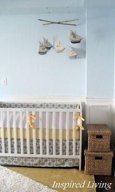 Inspired Living: Nautical Nursery Tour- love how name is but different colors. maybe that way over crib?