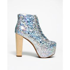 Jeffrey Campbell Lita Boot in Silver Hologram ($215) ❤ liked on Polyvore featuring shoes, boots, heels, silver hologram, silver shoes, chunky lace up boots, heel boots, lace up boots e laced boots