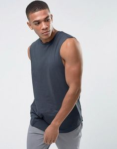 ASOS Longline Tank With Dropped Armhole and Curve Hem In Gray - Gray