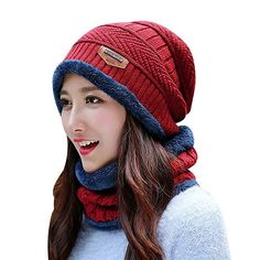 92357caa38f HINDAWI Womens Beanie Winter Hat Scarf Set Slouchy Warm Snow Knit Skull Cap  (Red)