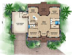 Pool House Plans with Bedroom Awesome Beach Style House Plan 3 Beds 2 Baths 1697 Sq Ft Plan Beach House Floor Plans, Beach House Plans, Cottage House Plans, Craftsman House Plans, Bedroom House Plans, Dream House Plans, Small House Plans, Cottage Ideas, Farm House