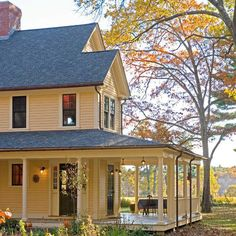 front porch designs for farmhouses | American Farmhouse. Wrap Around Porch Design Ideas, Pictures, Remodel ...