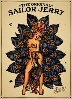 Sailor-Jerry-poster-Tattoo-Vintage-girl-and-a-peacock                                                                                                                                                      More