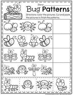 Preschool Bug Theme Patterns Worksheet #preschool #bugs #bugworksheets #preschoolworksheets #springworksheets #patternworksheets