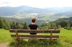 Hiking in Austria. (Location: Bründlweg, Mürztal)