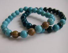 Two bracelet set / Wrist Malas by 1treeyoga on Etsy, $16.00