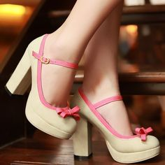 Aliexpress.com : Buy 2013 new fashion thick heel beige red sweet bow Dating Women high heels size 34 39 from Reliable pumps suppliers on Vogue shoes $76.83