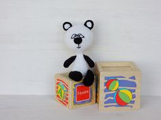Baby gift Kids toys Little cute Panda Miniature toys Stuffed animal Woodland animals Knitted toys Amigurumi Eco friendly toy Toddler gift
