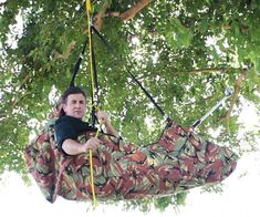 """Adventure Pod by Gear Up. One point hang """"hammock"""" with an 11x pulley system that allows you to lift yourself into the tree tops!! Holds 600lbs. of occupant and gear and is more stable than a regular hammock. No tipping!! Can you say """"ZOMBIE PROOF!!!""""???"""