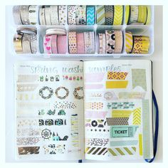Keeping track of your Washi collection in your Bullet Journal. Bullet Journal Travel, Bullet Journal How To Start A, Bullet Journal Spread, Bullet Journal Layout, Bullet Journal Inspiration, Filofax, Washi Tape Notebook, Journal Organization, Bullet Journel
