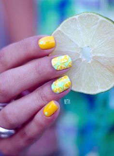 Nail Art Designs In Every Color And Style – Your Beautiful Nails Cute Summer Nails, Cute Nails, Spring Nails, Nail Summer, Smart Nails, Fall Nails, Nail Art Mignon, Lemon Nails, Fruit Nail Art