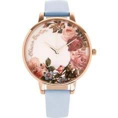 Olivia Burton English Garden Floral Print Big Dial Watch ($105) ❤ liked on Polyvore featuring jewelry, watches, blue, stainless steel watches, floral jewelry, stainless steel wrist watch, slim watches and dial watches