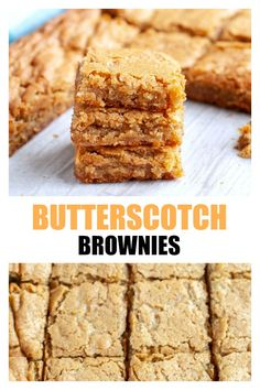 Chewy and delicious butterscotch brownies! These blondie bars are rich and delicious made with brown sugar. Chewy and delicious butterscotch brownies! These blondie bars are rich and delicious made with brown sugar. Butterscotch Blondie Recipe, Butterscotch Brownies, Brownie Recipes, Cookie Recipes, Dessert Recipes, Fun Baking Recipes, Bar Recipes, Recipes Dinner, Pasta Recipes