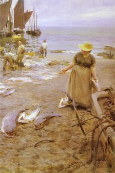 Anders Zorn    Fish market in St Ives