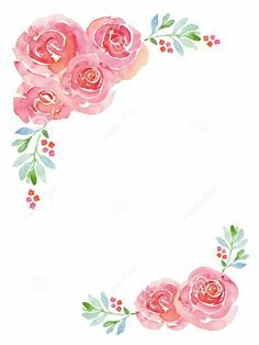 Image Result For How To Draw Pastel Flower Border Floral Watercolor Flower Frame Flower Painting