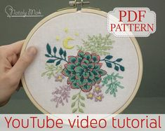 Hand embroidery PDF patterns and kits for beginners by NatalyMakDesign Modern Embroidery, Beaded Embroidery, Hand Embroidery, Finding A New Hobby, Handmade Jewelry, Handmade Items, Pdf Patterns, New Hobbies, Embroidered Flowers