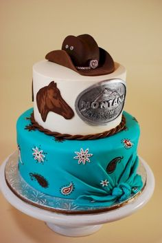 Cow Hide Cake + Jean Cake = A Western Party!