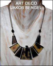 FAB VINTAGE ART DECO JAKOB BENGEL NECKLACE CHROME BLACK + FAUX TORTOISE GALALITH