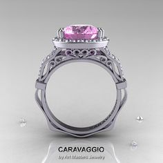 Caravaggio 14K White Gold 3.0 Ct Light Pink Sapphire Diamond Engagement Ring, Wedding Ring R620-14KWGDLPS