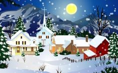 Preview wallpaper home, full moon, church, snow, night, winter