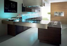 Here you can see how visually appealing a thick metal countertop can be for a modern kitchen design.