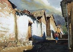 Cusco Paintings - Street at the morning  by Oscar  Cuadros