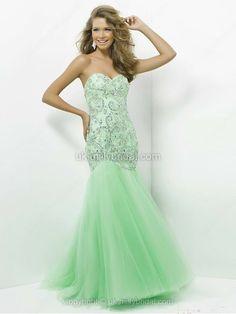 Trumpet/Mermaid Sweetheart Tulle Satin Sweep Train Rhinestone Prom Dresses.  WANNT