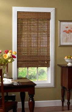 Features: -Easily installed in minutes with all necessary hardware included. -Roman shade. -Made of handcrafted/ woven bamboo. Product Type: -Roman shade. Finish: -Brown. Material: -Synthetic fa