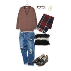 大人カジュアルコーデ stylist:yoko denim pointedtoe knit fashion ponte outfits coordinate