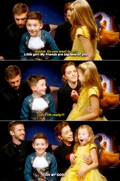 Dan-Stevens-Emma-Watson-meet-'Mini-Belle-and-the-Beast'.gif (500×752)